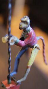 Antique Vintage German Spiral Penny Toy Tin Distler Monkey Circa Early 1900's
