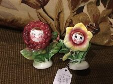 vintage anthropomorphic salt and pepper flower face rare py