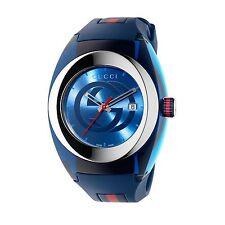 New Gucci Sync XL Swiss Blue Striped Rubber Strap Unisex Watch YA137104