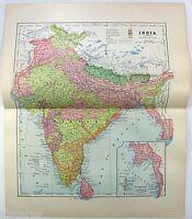 Original 1891 Map of India by Hunt & Eaton. Antique