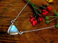 Genuine 925 Sterling Silver Sacred Geometry Rainbow Moonstone HEALING Necklace