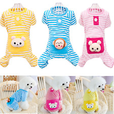 Cute Pet Dog Cat Stripe Jumpsuit Pajamas Small Bear Clothes Puppy Costume Coat
