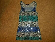 New Almost Famous Large Blue Aqua Gray Sequin Longer Rib Knit Tank Top Scoop