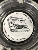 Glass Advertising Ashtray Kruger's Formica Plastic Fabricators Rochester MN