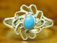 925 Sterling Silver Ring with Turquoise Decorations / Real Silver/2,3g / Rg 56