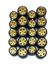 10 sets 5 star big & small Gold long axle fit 1:64 hot wheels rubber tires