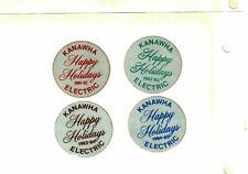Nice Set Of 4 Old Christmas Happy Holidays Coal Mining Stickers # 1139