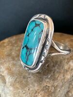 Navajo Spider Web Turquoise Ring Set Sterling Silver Size 8.5 Gift 2735