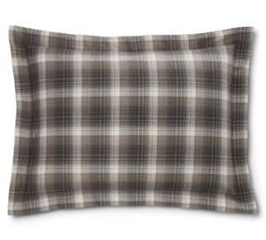 Ralph Lauren NWT $115 Hoxton Cream Gray Plaid Cotton Standard Sham 20X28 NEW