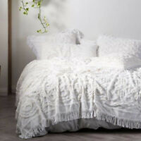 Linen House White Somers Bed Cover | Made from detailed Cotton Chenille