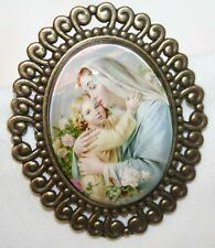 Lovely Scalloped Rim Pasteled Madonna & the Christ Child Glass Cameo Brooch Pin