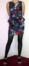 H&M Size 6 Dark Floral Romantic Print Peplum Dress