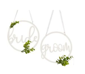 Bride Groom Chair Hoops Signs Wedding Reception Decorations Cover Wooden Foliage
