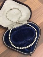 Faux PEARL Single Strand NECKLACE Choker 9ct Gold Clasp