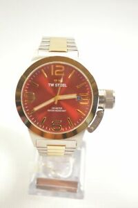TW STEEL CB71 CANTEEN TWO TONE RED DIAL STAINLESS STEEL WATCH