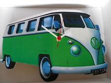Verde lima de dividir la pantalla de diseño clásico de Vw Camper Van Reloj De Pared. Nuevo Y Sellado