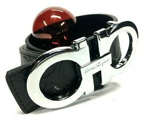 Salvatore Ferragamo Belt | Size 40 or 100cm | Black Leather | Silver Buckle | DH