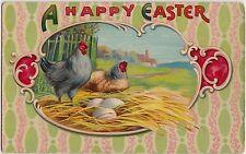 EASTER Greetings Postcard 1916 ROOSTER Hen Eggs Fancy Border E60