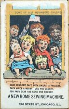 Victorian Trade Card: Children Filling Window - New Home Sewing Machine Co.