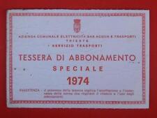 TRAM TRANVIE BUS abbonamento tessera Acegat Trieste 1974 speciale 2/5