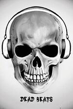 DEAD BEATS - SKULL HEADPHONES POSTER - 24x36 MUSIC ART FANTASY 33822