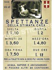 """TARGA VINTAGE 1939 CASA DI TOLLERANZA""""SPETTANZE DELLA STIMATA CASA""""BROTHEL RATES"""