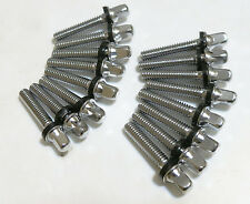 """16 NEW 28mm CHROME DRUM TENSION RODS, 1 1/2"""" TOTAL LENGTH (Piccolo/Snare/To"""