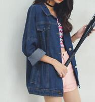 Fashion Korean Washed Denim Loose Oversize Womens Jean Jacket Style Girls Coat