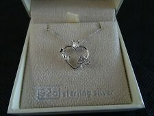 Heart Butterfly Pendant Necklace 925 Silver by Equilibrium