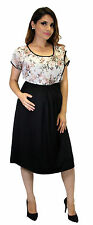 Short Sleeve Maternity Chiffon Elegant Dress Knee Legnth Floral Work Elegant