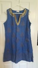 Soft Surroundings blue linen beaded sleeveless smock dress size medium oversized