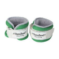 THERABAND ANKLE WRIST WEIGHTS 1.5lb Each 3lb PAIR Adjustable Rehab Exercise GRN