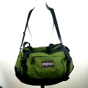"Jansport Duffle Shoulder Travel Gym Bag Size XL 28"" x 15"" x D17"" Green Black"
