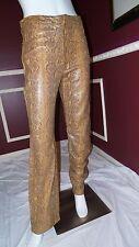 *SAKS 5TH AVENUE* REAL CLOTHES 100% LEATHER PANT SLACKS BROWN BLACK Sz12 M LINED