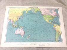 Vintage Map Pacific Ocean Steam Ship Routes Maritime Nautical Original