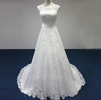 New lace Wedding dress Gown Prom Ball Evening Dress Size 6 8 10 12 14 16 18
