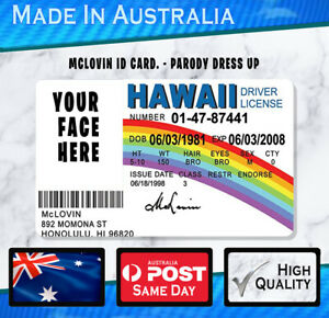 McLovin ID Card Plastic CUSTOM- Parody Prob Gift Novelty SUPERBAD