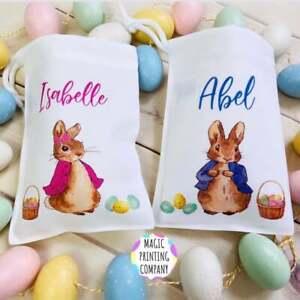 Personalised Easter Gift Bag Peter Rabbit Flopsy Kids Egg hunt Decoration Toy
