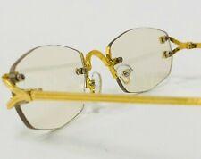 Men  Clear Lens Classy Contemporary Modern Style Eye Glasses Gold Rimless Frame