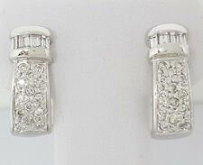 0.73 ct 14k White Gold Round Cut Diamond Half Hoops Earrings 5.7 grams