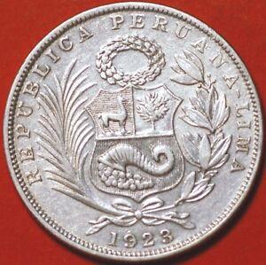 1/2 Sol 1923 silver Lima Peru KM#216  F389TO