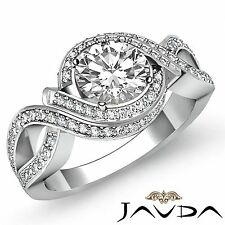 2ct Halo Pave Round Diamond Engagement Curve Shank Ring GIA F VS2 14k White Gold
