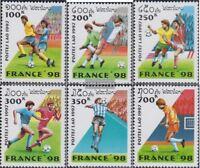 Laos 1593-1598 (kompl.Ausg.) postfrisch 1997 Fußball-WM 1998 in Frankreich