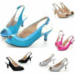 Summer Beach Sandals Womens Open toe Buckle Pumps Kitten Heel Shoes Plus SZ US13