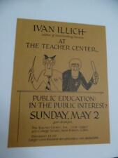 1971 Philosopher Ivan Illich Yale Lecture Poster Deschooling Society Vintage VG