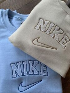 Vintage Nike 90's Style Embroidered Spell Out Sweatshirt In Cream / Beige / BLUE