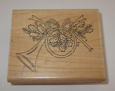 French Horn Rubber Stamp Close To My Heart Christmas Holly Leaves Berries Berry
