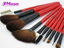 Natural Goat & Pony Hair 10pcs Pro Makeup Cosmetic Brushes Set Red JMoon
