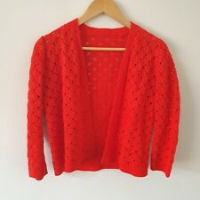 Vintage Bright Red Sheer Crochet Crop Open Cardigan S 50s 60s 70s Handmade Boho