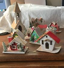 LOT Vtg PUTZ Christmas Village HOUSES-Church-Cottage-MICA-TREES